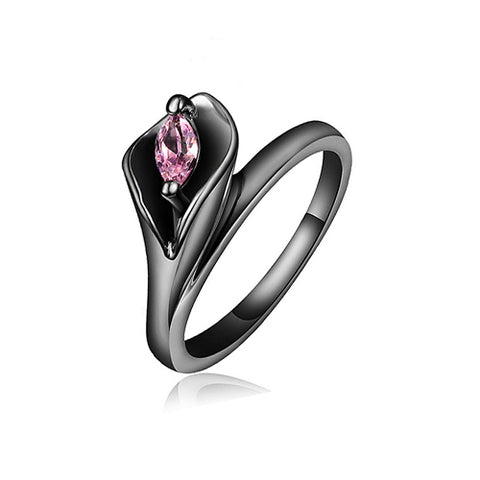 Rose Flower with Black Rhodium Plated Ring - TSZjewelry