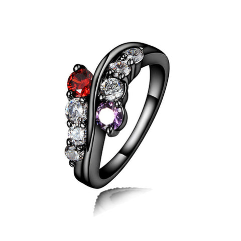 Double Layer Color Gemstone with Black Rhodium Plated Ring - TSZjewelry