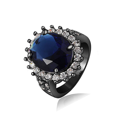 Oval Sapphire with Black Rhodium Plated Ring - TSZjewelry