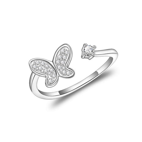 Butterfly with Square Gemstone Fashion Ring - TSZjewelry