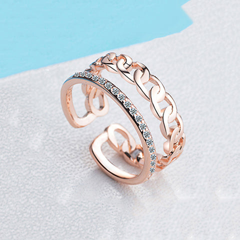 Double Layer Chain Rose Gold Fashion Ring - TSZjewelry