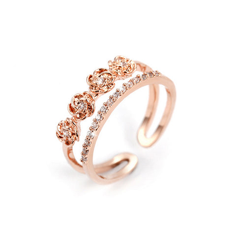 Double Layer Four Flower Rose Gold Fashion Ring - TSZjewelry