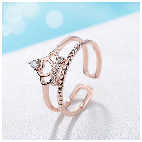 Double Layer Crown Rose Gold Fashion Ring - TSZjewelry