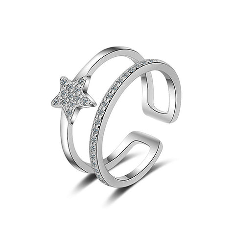 Double Layer Five Star Fashion Ring - TSZjewelry