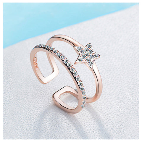 Double Layer Five Star Rose Gold Fashion Ring - TSZjewelry