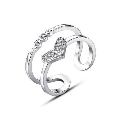 Double Layer Love Heart Fashion Ring - TSZjewelry
