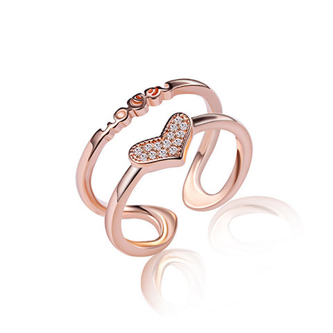 Double Layer Love Heart Rose Gold Fashion Ring - TSZjewelry