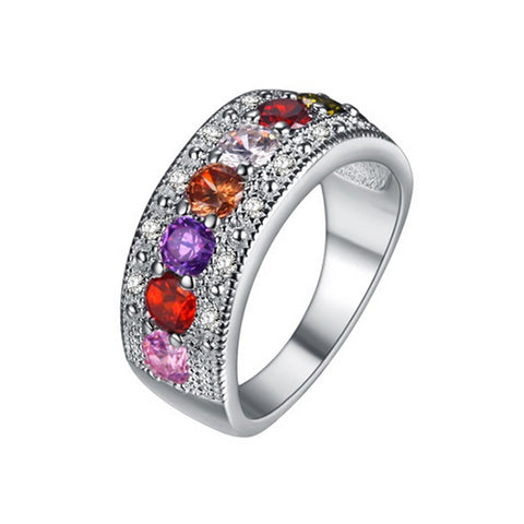 Color Gemstone Band Ring - TSZjewelry
