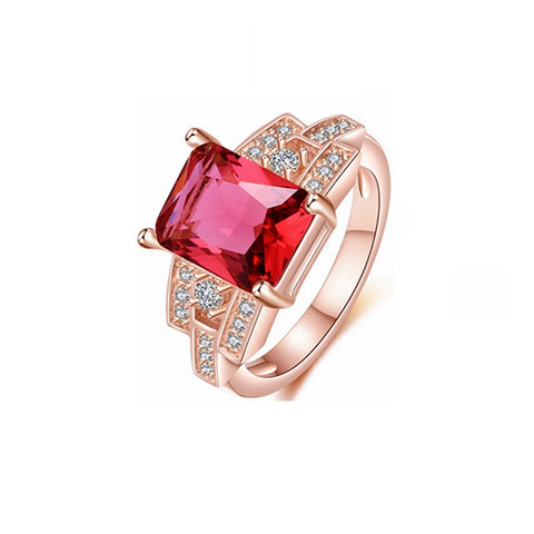 Square Ruby Rose Gold Ring - TSZjewelry