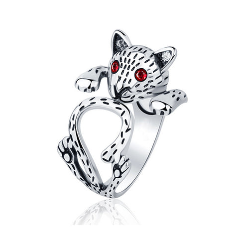 Red Eye Cat Thai Silver Ring - TSZjewelry