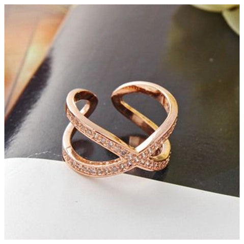Micro Pave Gemstone Rose Gold X Ring - TSZjewelry