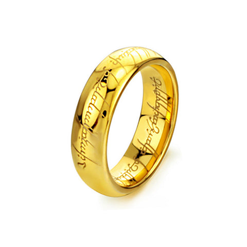Gold Plated Stainless Steel Lord of the Rings - TSZjewelry