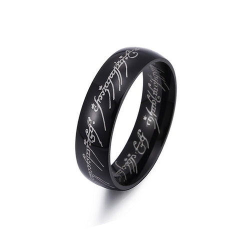 Black Plated Stainless Steel Lord of the Rings - TSZjewelry