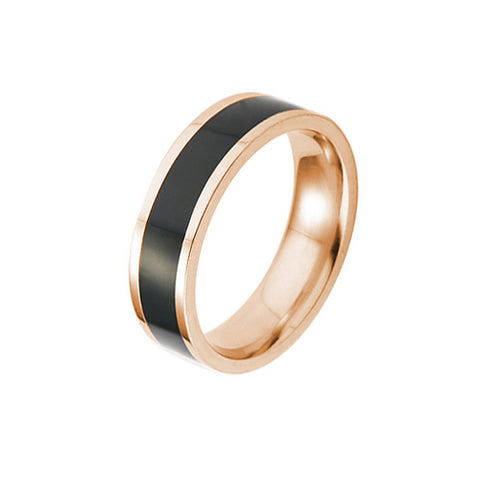 Black Glazes Rose Gold Plated Stainless Steel Ring - TSZjewelry