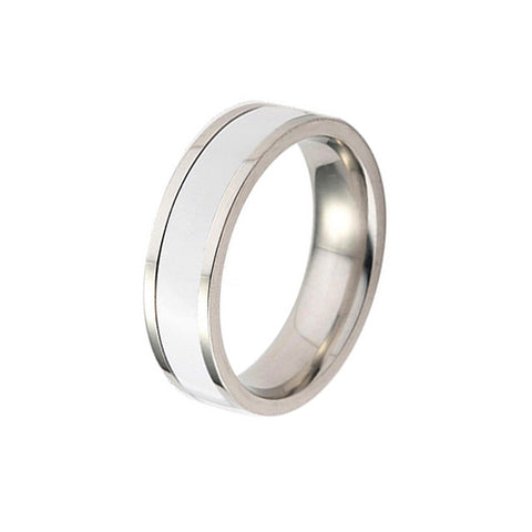 White Glazes Stainless Steel Ring - TSZjewelry