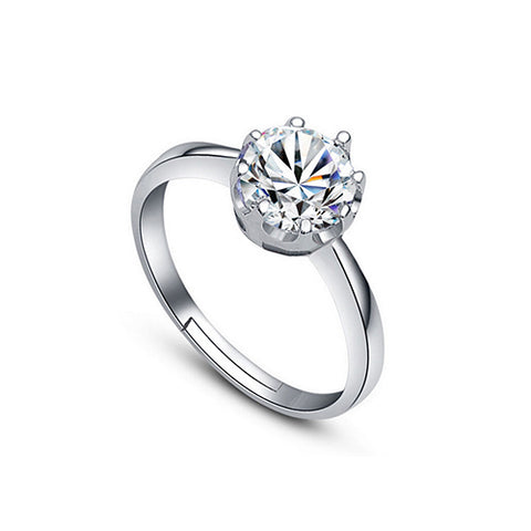 8 Prong Round Cubic Zirconia Ring - TSZjewelry