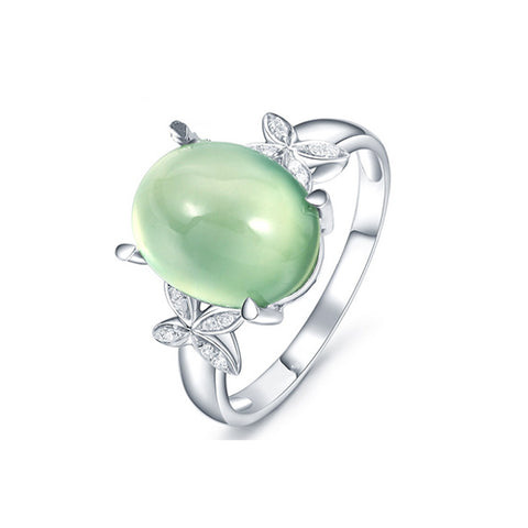 Oval Emerald Double Butterfly Ring - TSZjewelry