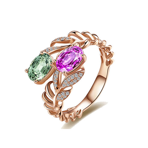 Multi Color Gemstone Leaf Rose Gold Ring - TSZjewelry