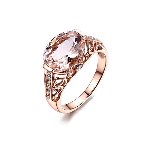 Oval Morganite Rose Gold Ring - TSZjewelry