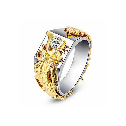 Gold Sculpted Dragon Ring - TSZjewelry
