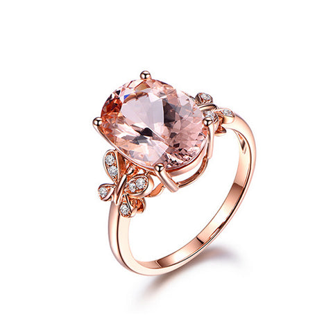 Oval Morganite Double Butterfly Rose Gold Ring - TSZjewelry