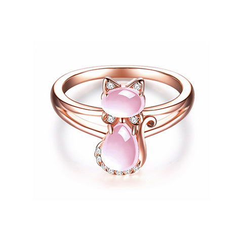 Rose Quartz Rabbit Ring - TSZjewelry
