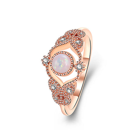 Rose Gold Round Opal Ring - TSZjewelry