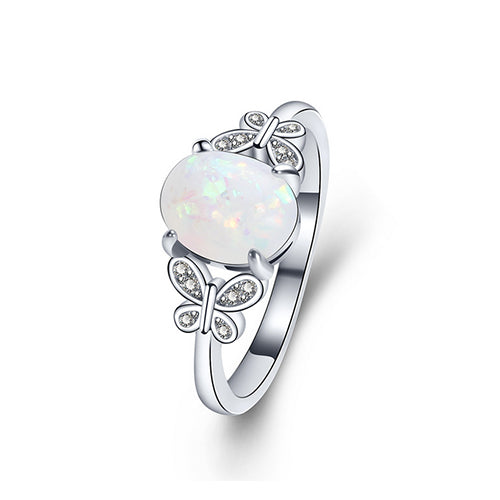 Double Butterfly Oval Opal Ring - TSZjewelry