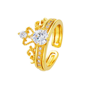 2 in 1 Golden Crown Ring - TSZjewelry