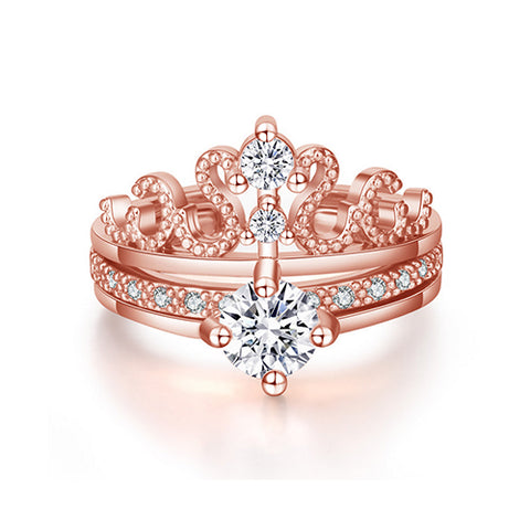 2 in 1 Rose Gold Crown Ring - TSZjewelry