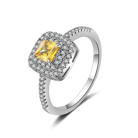 Square Citrines Cubic Zirconia Cluster Ring - TSZjewelry