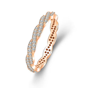 Rose Gold Micro Paved Twisted Rings - TSZjewelry