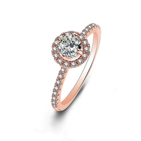 Rose Gold Round Cubic Zirconia Cluster Ring - TSZjewelry
