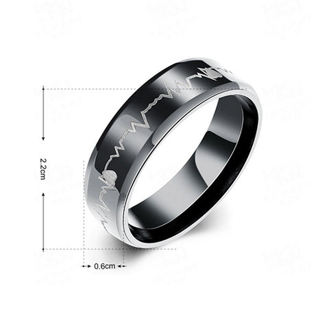 Heart Beat Black Plated Stainless Steel Rings - TSZjewelry