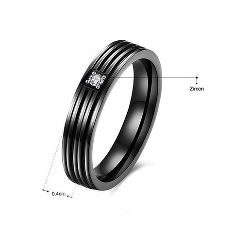 Crucible Black Plated Stainless Steel Grooved Ring - TSZjewelry