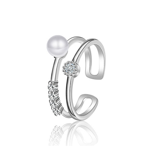 Double Line Pearl Ring - TSZjewelry