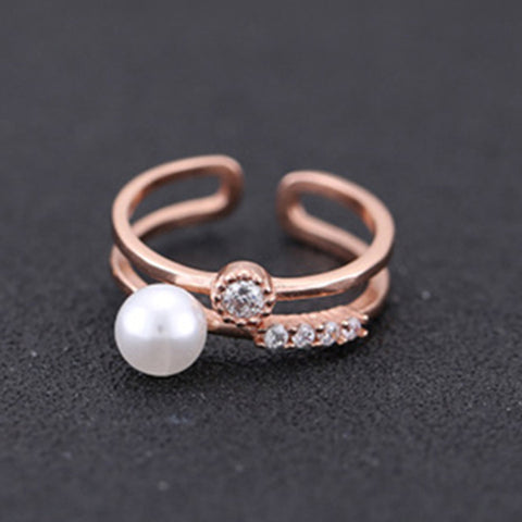 Rose Gold Double Line Pearl Ring - TSZjewelry