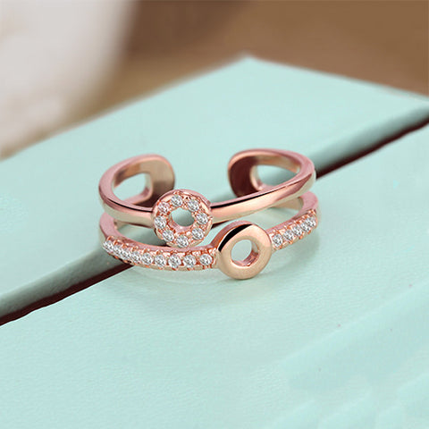Rose Gold Double Circle Double Line Ring - TSZjewelry