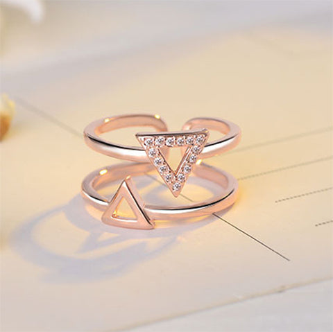 Rose Gold Double Triangle Double Row Ring - TSZjewelry