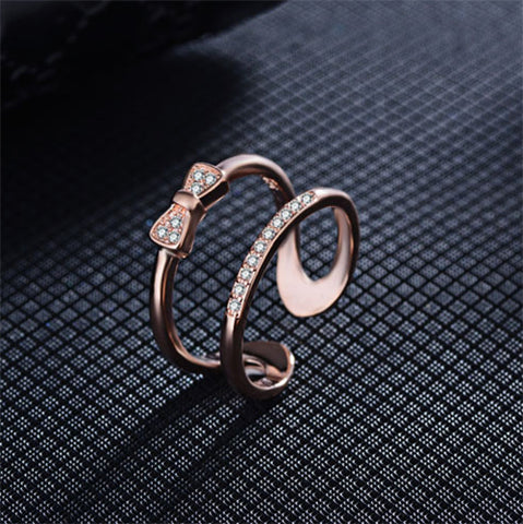 Rose Gold Double Row Bow Tie Fashion Ring - TSZjewelry