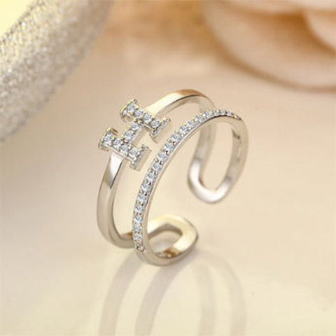Micro Paved H Letter Double Row Ring - TSZjewelry