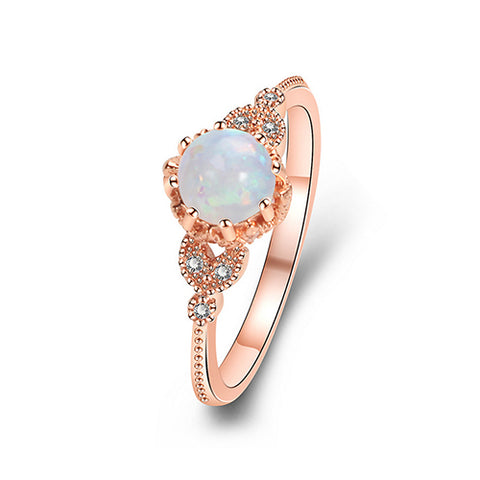 Rose Gold Dual Heart Round Opal Ring - TSZjewelry