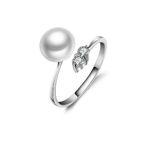 White Pearl with Gemstone Ring - TSZjewelry