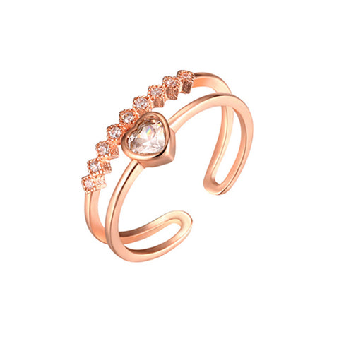 Rose Gold Double Row Heart Ring - TSZjewelry