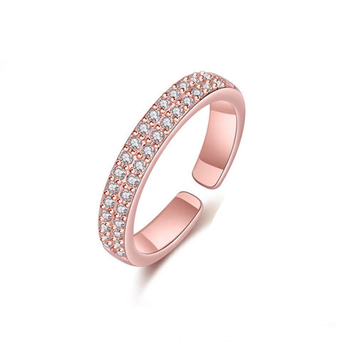 Gemstone Double Row Rose Gold Ring - TSZjewelry