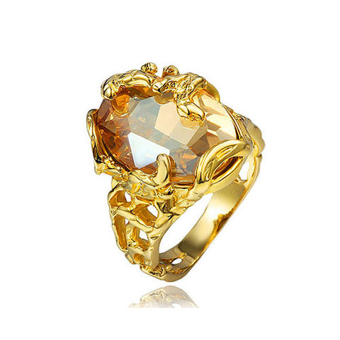 Oval Citrine Gemstone Gold Ring - TSZjewelry