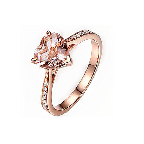 Rose Gold Pink Gemstone Heart Ring - TSZjewelry