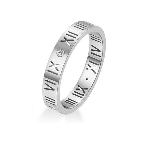 Stainless Steel CZ Roman Numeral Ring - TSZjewelry