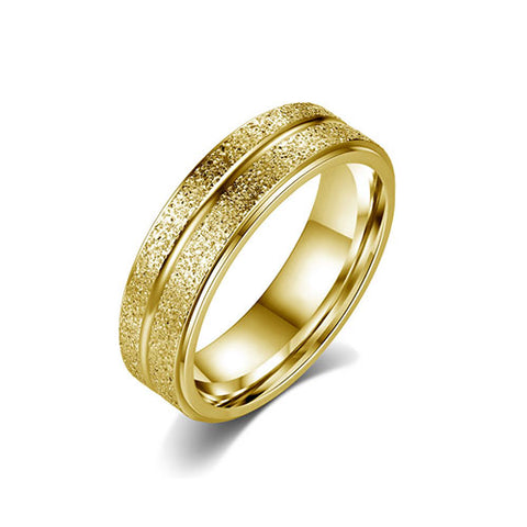 Grooved Frosting Surface Gold Ring - TSZjewelry