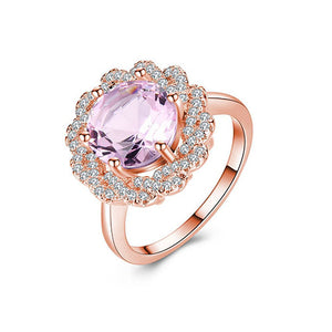 Amethyst Cocktail Rose Gold Ring - TSZjewelry
